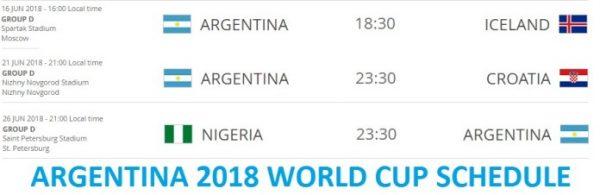 Argentina 2018 FIFA World Cup Schedule Fixtures
